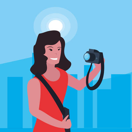 woman photographer profession labour day vector illustration
