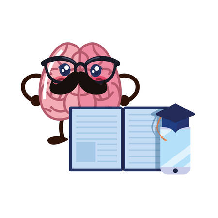brain cartoon education mobile book vector illustration
