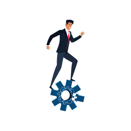 businessman with puzzle pieces in shape pinion vector illustration design Ilustracja