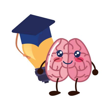 brain cartoon education graduation hat bulb idea vector illustration 일러스트