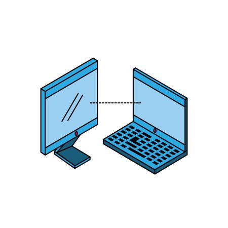 laptop computer with desktop vector illustration design