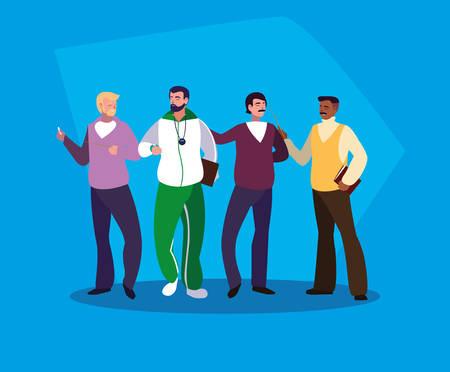 group of teachers men avatar character vector illustration design Stock Illustratie