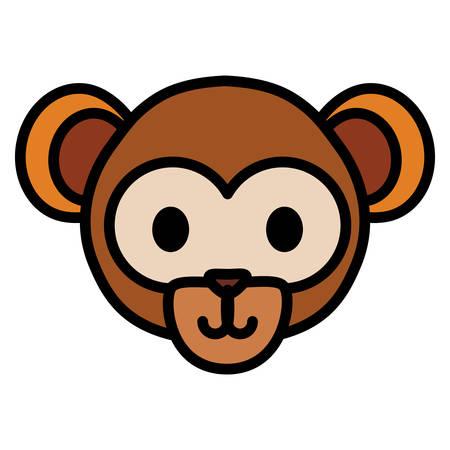 cute exotic monkey head character vector illustration design 일러스트