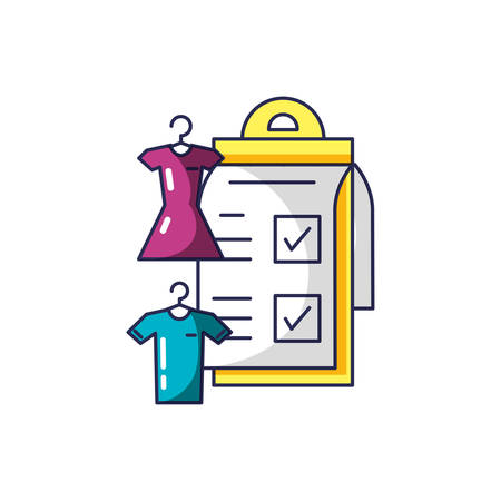 clothing hanging in clothespin with checklist clipboard vector illustration design