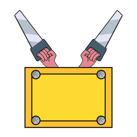 hands saws construction board tool vector illustration design