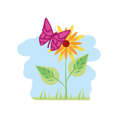 beautiful flower natural in branch with leafs and butterfly vector illustration design