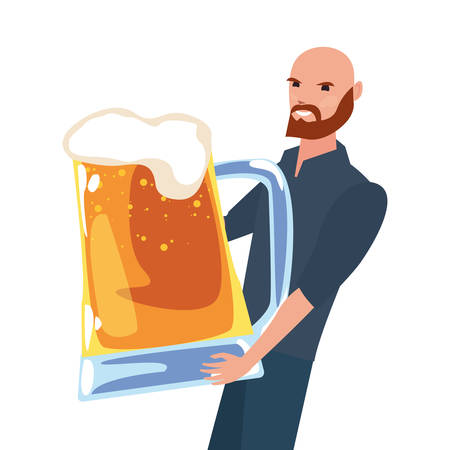 dad with cold beer happy fathers day vector illustration