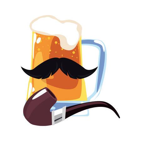 beer mustache tobacco pipe happy fathers day vector illustration Illusztráció
