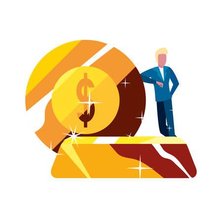 businessman money bank gold bar coin vector illustration