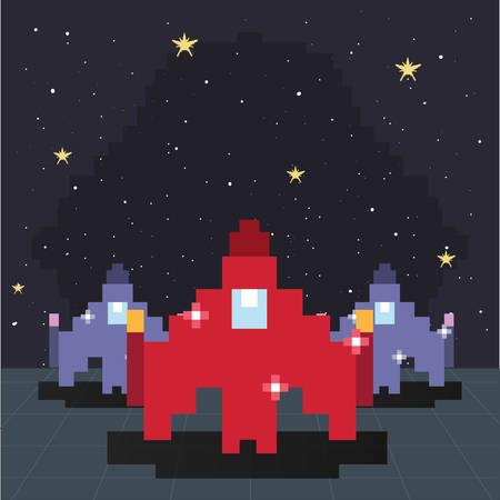 spaceship pixel level video game retro vector illustration