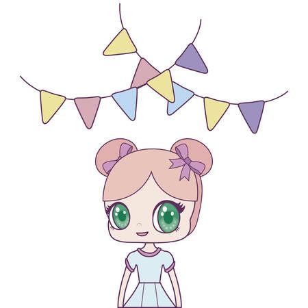 cute little doll with garlands hanging vector illustration design Stock fotó - 133487073