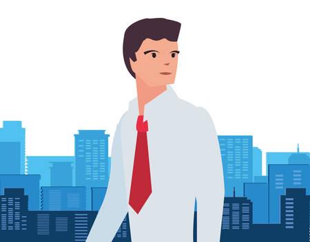 businessman portrait city street background vector illustration