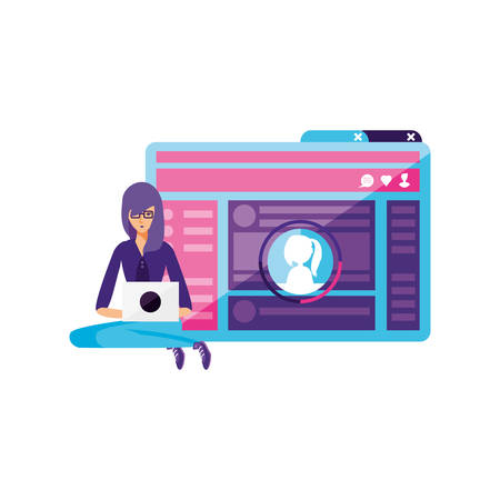 young woman using laptop in webpage template vector illustration design
