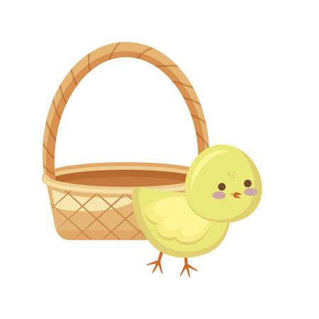 Lindo pollo con cesta de mimbre, diseño de ilustraciones vectoriales