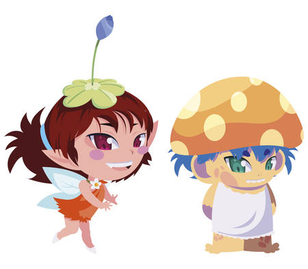 beautiful magic fairy and fungu elf characters vector illustration design Stock Illustratie