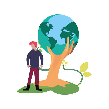 man with trunk holds world happy earth day vector illustration