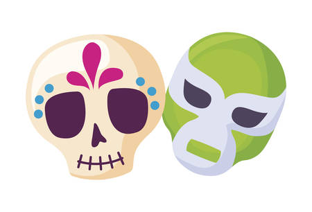 skull with mask fighter icons traditional mexican vector illustration design Stock fotó - 133487158