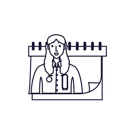 doctor female professional with calendar reminder vector illustration design