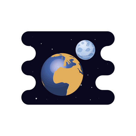 earth planet with moon scene space vector illustration design Illusztráció