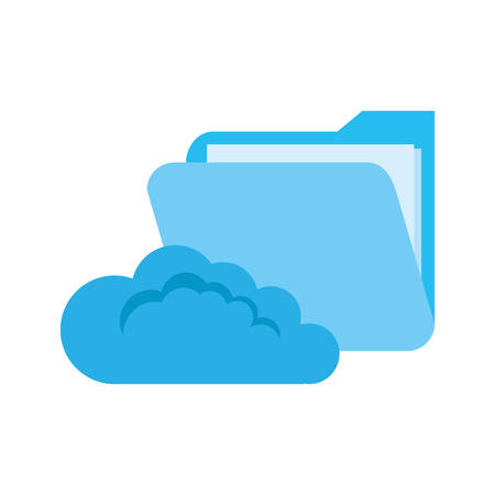 cloud computing folder file cybersecurity data protection vector illustration