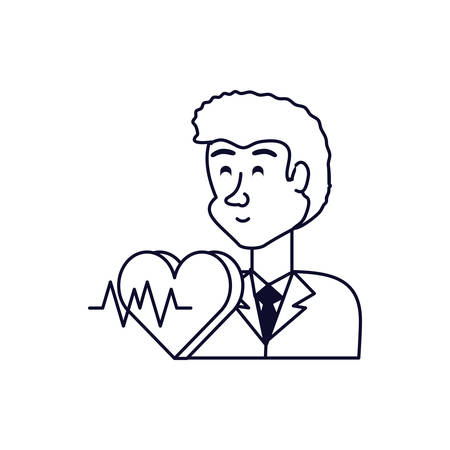 doctor professional with heart and rate vector illustration design Ilustracja