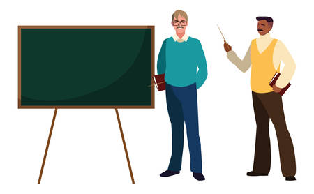 teachers couple with chalkboard characters vector illustration design Illustration
