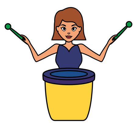 woman playing carnival bongo instrument vector illustration design Illusztráció