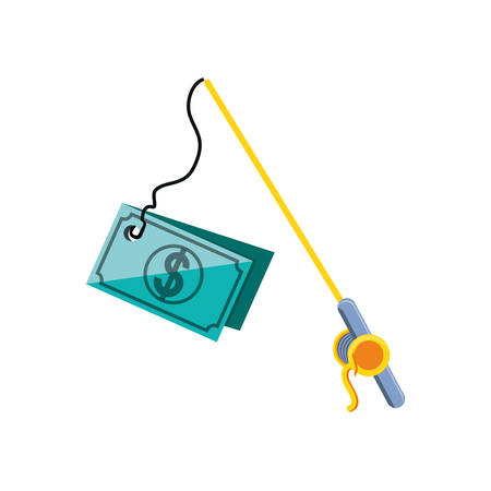 fishing rod with bill dollar isolated icon vector illustration design