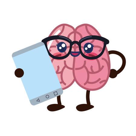 brain cartoon with eyeglasses cellphone vector illustration 向量圖像