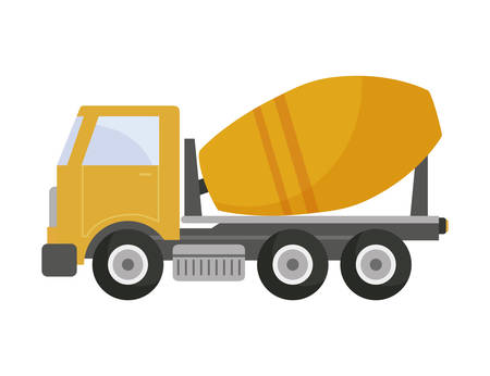 under construction concrete transport truck vector illustration design