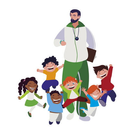 sports teacher with little students vector illustration design