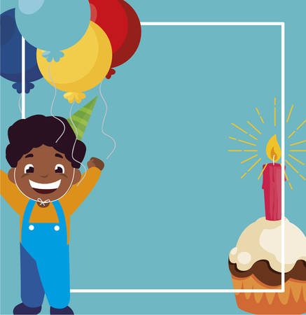 cute black boy with birthday balloons helium and cupcake vector illustration design Archivio Fotografico - 133225518