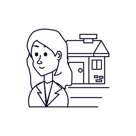 business woman with facade house vector illustration design