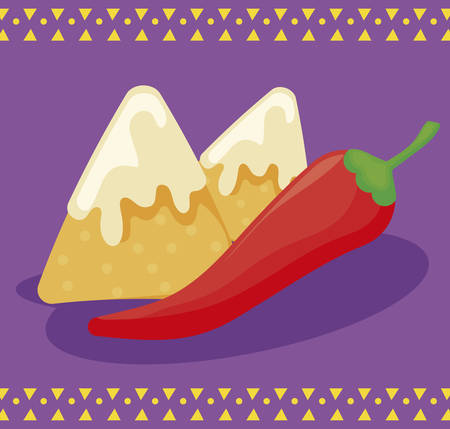 viva mexico celebration with chili pepper and nacho cheese vector illustration design