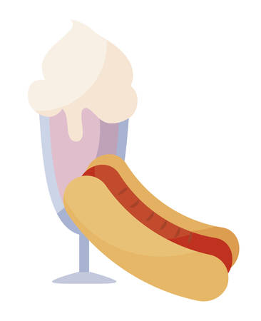 delicious ice cream in cup with hot dog vector illustration design Stock Vector - 133228221