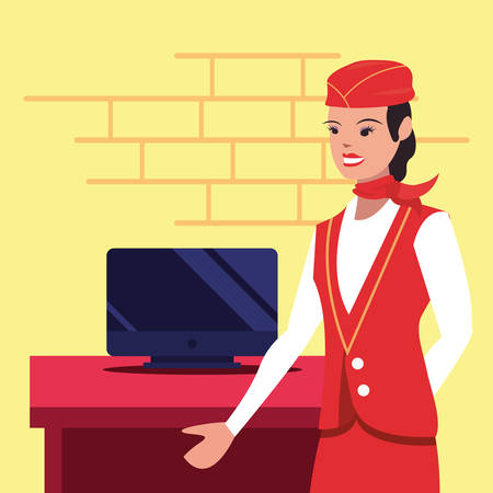 flight attendant computer labour day vector illustration design