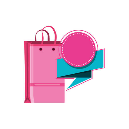 shopping bag with speech bubble vector illustration design Ilustração