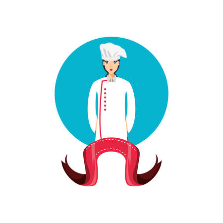 professional chef female with ribbon vector illustration design