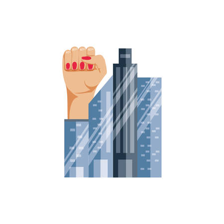 hand fist with cityscape vector illustration design