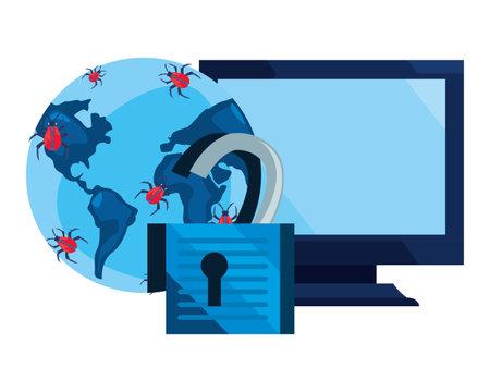 computer world virus padlock unlock cybersecurity data protection vector illustration
