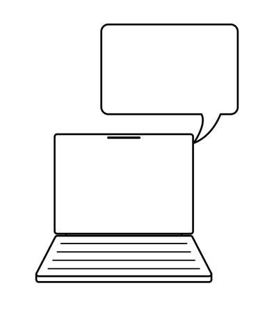 laptop computer with speech bubble vector illustration design