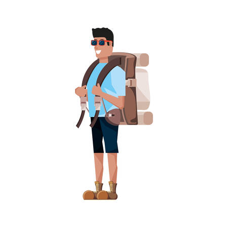 traveler man with travel bag avatar character vector illustration design