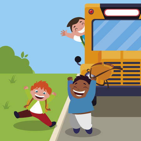 happy little interracial boys in the bus stop vector illustration design