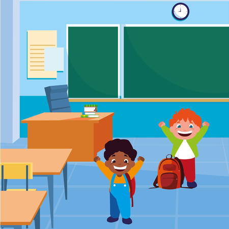 happy little interracial boys in the classroom vector illustration design