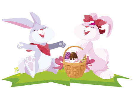 cute rabbits couple with eggs painted in basket vector illustration design Foto de archivo - 133513724