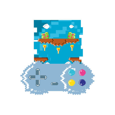 video game control with stage scene pixelated vector illustration design