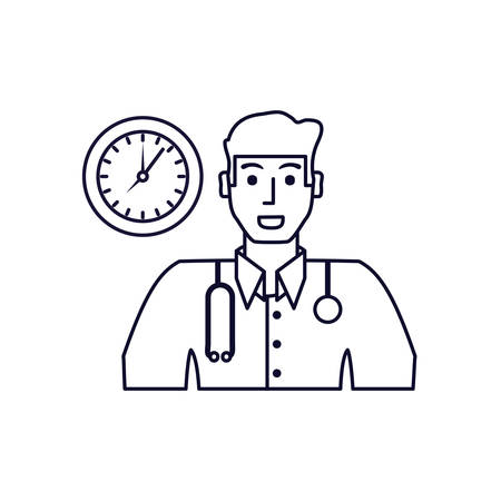 doctor professional with clock time vector illustration design