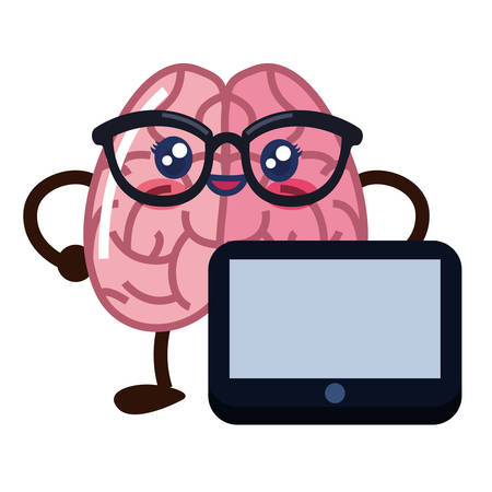brain cartoon with tablet creativity vector illustration