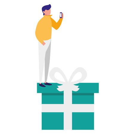 young man using smartphone with gift vector illustration design Ilustracja