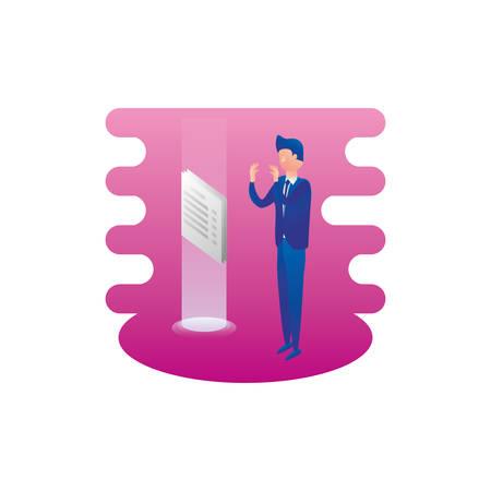 businessman worker with documents vector illustration design